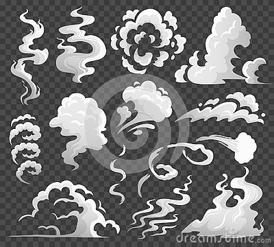 Smoke clouds. Comic steam cloud, fume eddy and vapor flow. Dust clouds isolated cartoon vector illustration Vector Illustration
