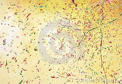 Smoke and colorful confetti