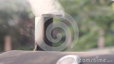 Smoke Coming From A Barbecue stock video