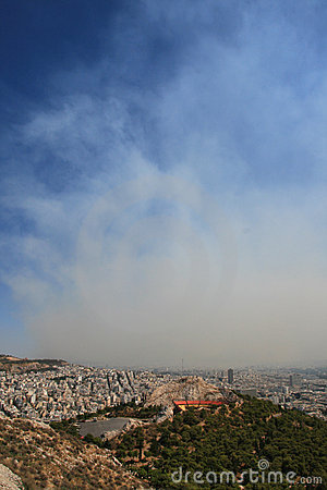 Smoke covers the city of Athens Greece Editorial Photo
