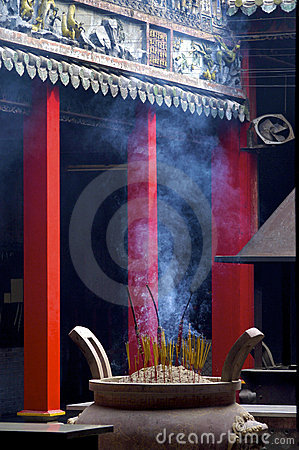 Smoke filled chinese temple