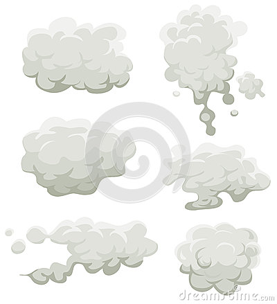 Smoke, Fog And Clouds Set Vector Illustration