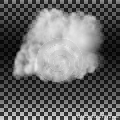 The smoke or fog on an isolated transparent background. Special effect. White cloudy vector, vector illustration. Vector Illustration