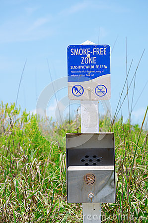 Smoke-free Zone Sensitive Wildlife Area sign