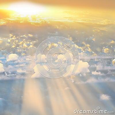 Smoke over sunset Clouds with sunshine