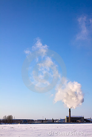 Smoke from pipe over sky