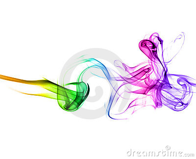 Smoke with rainbow colors