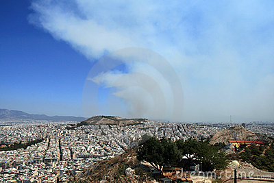 Smoke rises above Athens, Greece Editorial Photo