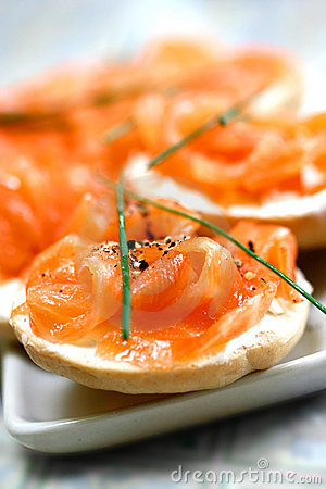 Free Smoke Salmon On Cream Cheese On Mini Bagel Stock Image - 1982461