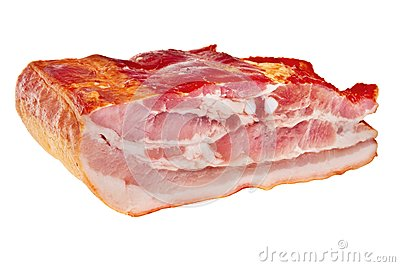 Smoked bacon chunk.