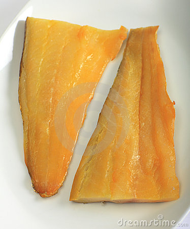 Smoked haddock fillets vertical