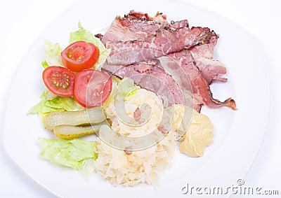 Smoked meat with sauerkraut