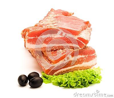 Smoked raw bacon