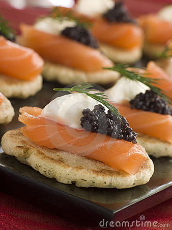 Free Smoked Salmon Blinis Canaps With Sour Cream Stock Images - 5607454