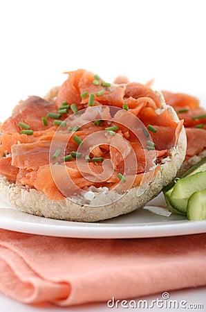 Smoked salmon on english muffin