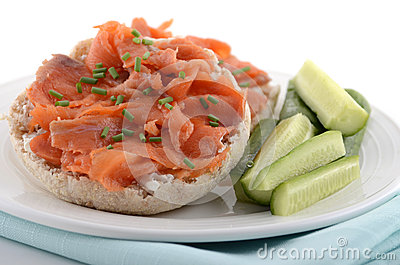 Smoked salmon on english muffin