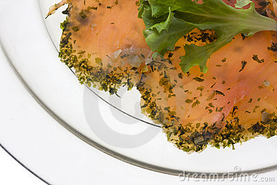 Smoked salmon with lettuce