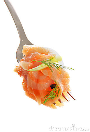 Free Smoked Salmon On A Fork Stock Photography - 19909072