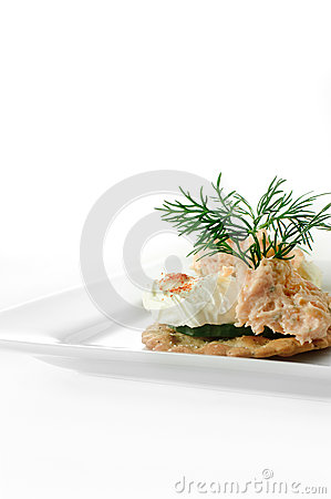 Smoked salmon pate canape stock photo image 45355556 for Canape garnishes