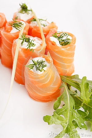Free Smoked Salmon Rolls Stock Photo - 14626790