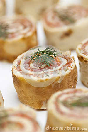 Smoked salmon roulade stock image image 29474651 for Smoked salmon roulade canape