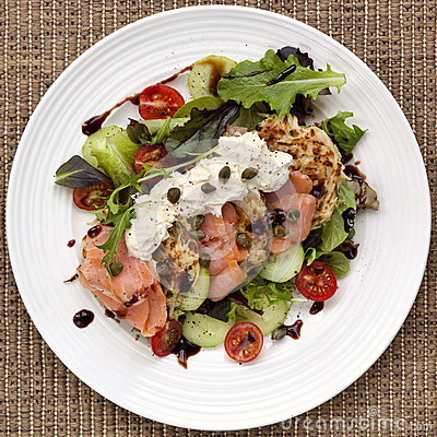 Smoked Salmon Salad with Potato Rosti