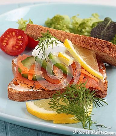 Free Smoked Salmon Sandwich Stock Photo - 22719540