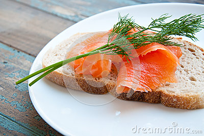 Smoked Salmon on Sourdough Bread.