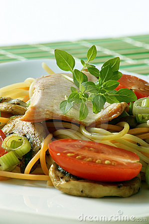 Smoked trout with colored spaghetti and vegetable