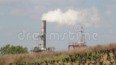 Smokestack of industrial factory stock video footage