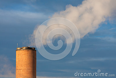 Smokestack with steam
