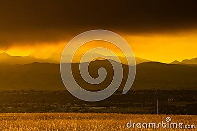 Smokey Sunset Over Boulder Editorial Stock Photo