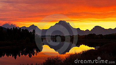 Smokey Sunset at Oxbow Bend