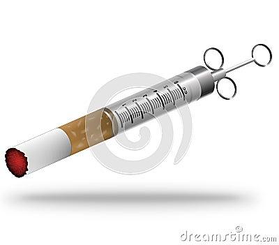 Smoking addict medical syringe concept