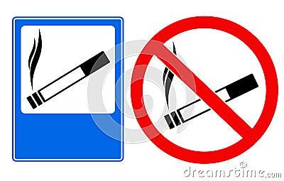 Smoking area and no smoking sings