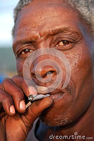 Smoking brown man