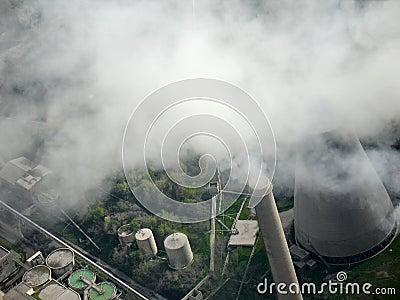 Smoking chimney, aerial view