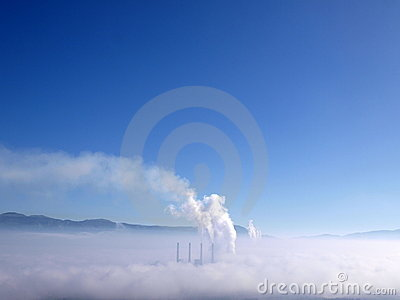 Smoking chimneys of power station