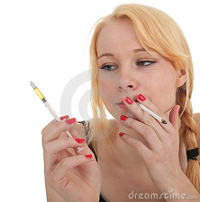Smoking drug addict young woman