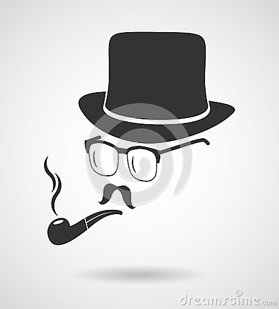 Free Smoking Gentleman. Vintage Design Elements Set Like Icon Stock Photography - 44842362