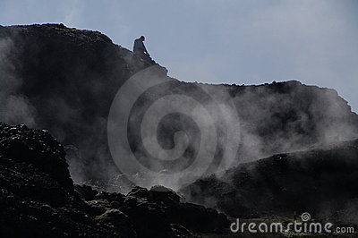 Smoking lava of the Leirhnjukur Volcano