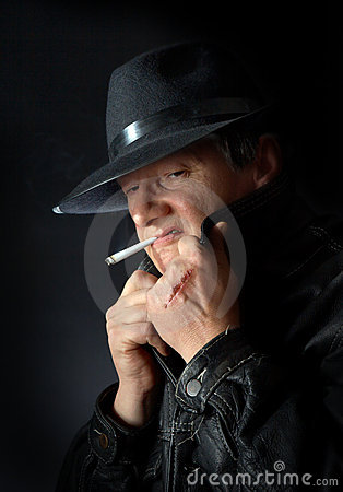 Smoking mafia guy