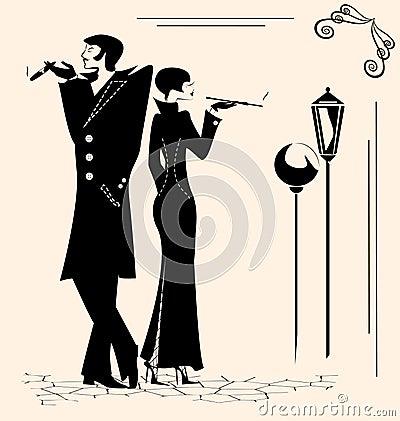 Free Smoking Man And Woman Stock Image - 38185341
