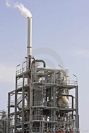 Smoking petroleum plant