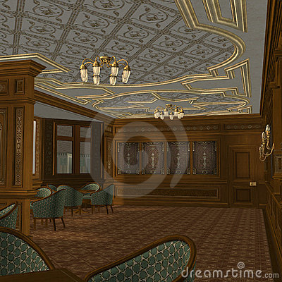 Smoking Room On A Old Luxury Ship
