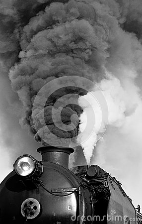 Smoking steam train