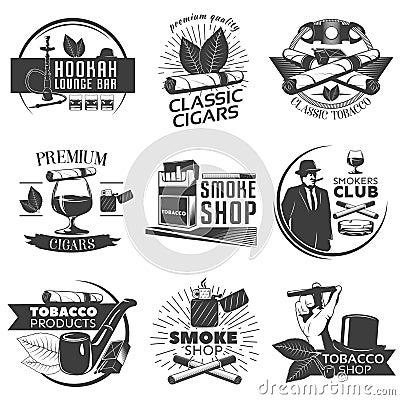 Free Smoking Tobacco Label Set Royalty Free Stock Photography - 73950037