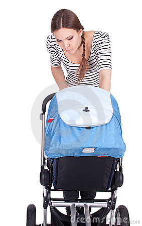 Smoking young mother with baby buggy