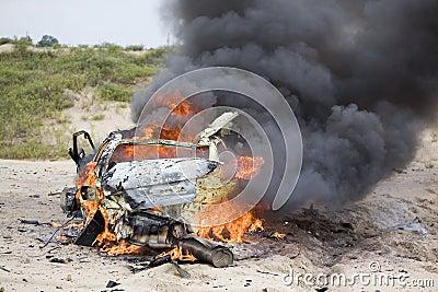 Smoldering car