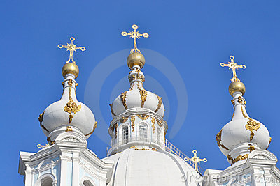 Smolny Cathedral on a sunny spring day